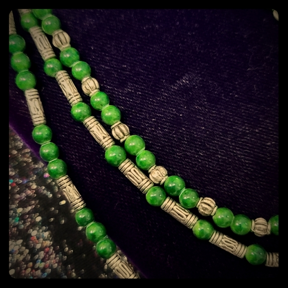 Green Agate Multi Layer Bead Necklace w/ Butterfly